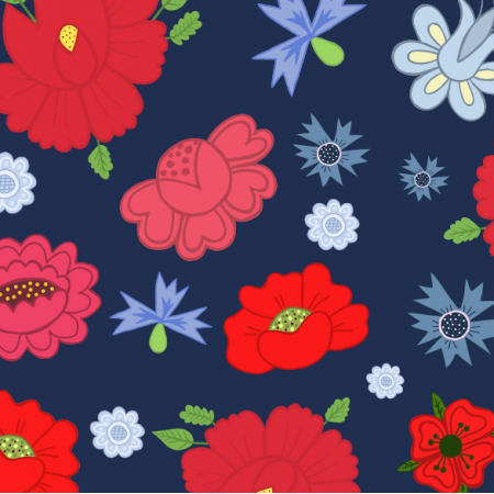 Fabric 24018 | Kwiaty ludowe granatowe
