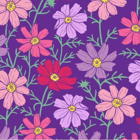 Fabric 24067 | Kwiaty kosmos różowe i fioletowe na ciemno-fioletowym tle
