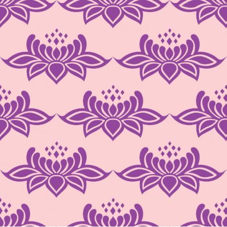 Fabric 24078 | ORNAMENTALNY WZÓR fioletowe KWIATY NA jasno-różowym TLE