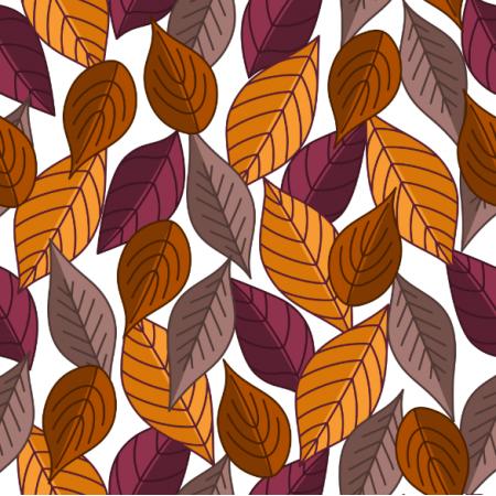 Tkanina 24193 | Jesienne liście na białym tle