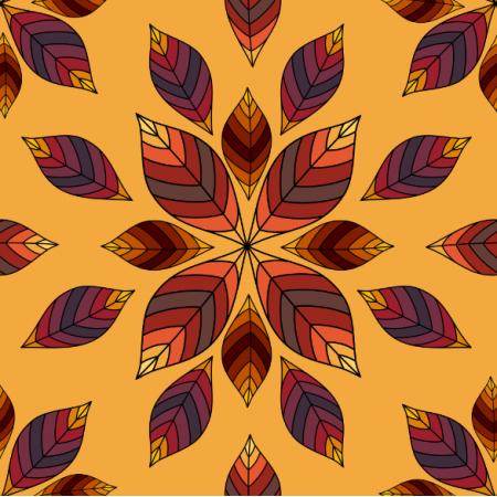 Fabric 24198 | Rozety z jesiennych liści na zółtym tle