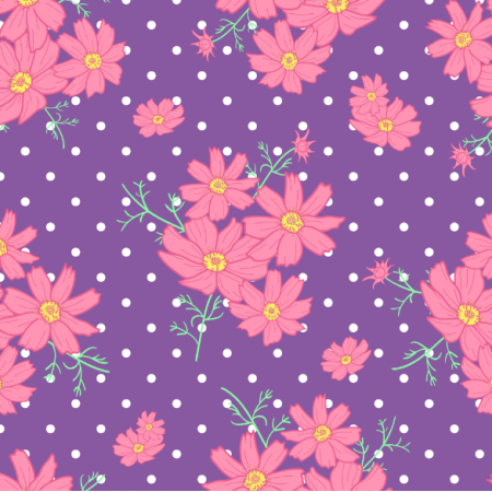 Fabric 24365   KWIATY KOSMOS RÓŻOWE I FIOLETOWE NA CIEMNO-FIOLETOWYM TLE Z KROPECZKAMI