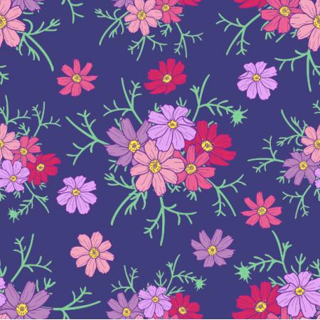 Fabric 24368 | Kwiaty kosmos różowe i fioletowe na granatowym tle