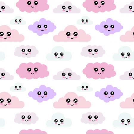 24370   pastelowe chmurki z buźkami na białym tle