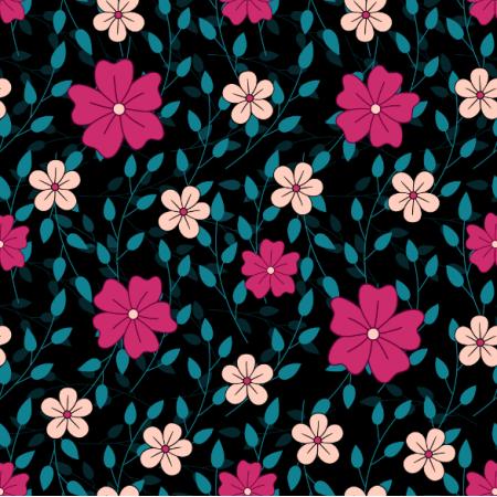 24536 | Różowe i jasno-pomarańczowe kwiaty z gałązkami na czarnym tle