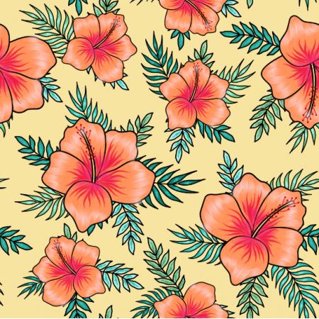 24563 | Pomarańczowe hibiskusy z liśćmi palmy na żółtym tle