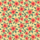 Tkanina 24563   Pomarańczowe hibiskusy z liśćmi palmy na żółtym tle