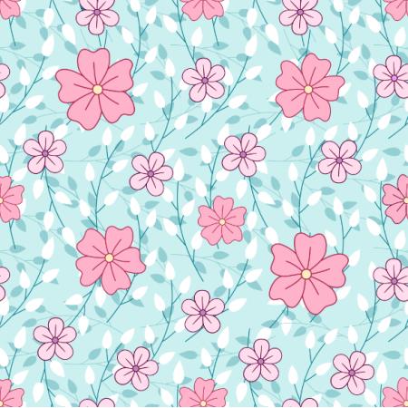 Tkanina 24575 | Różowe kwiatki z gałązkami na jasno niebieskim tle