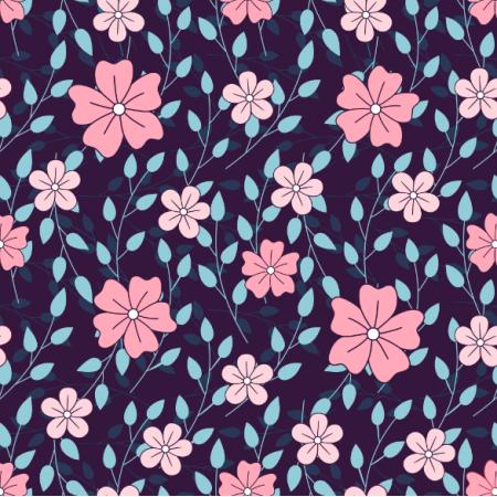 Fabric 24616 | Różowe kwiatki z gałązkami na granatowym tle