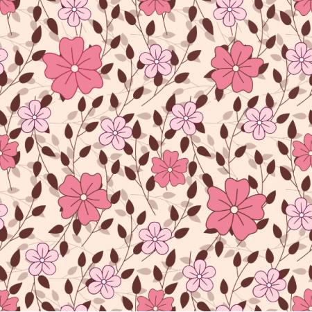 Fabric 24617 | Różowe kwiatki z gałązkami na jasno-różowym tle