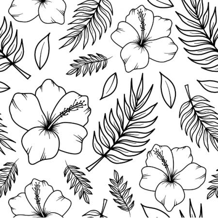 Fabric 24638 | Tropikalny wzór. Biało-czarne hibiskusy i liście palmy