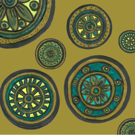 Fabric 24667   Kółka złote indiańskie