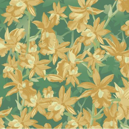 Fabric 24711 | Golden Hawaiian flowers