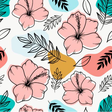 Fabric 24790 | TROPIKALNY WZÓR. RÓŻOWE HIBISKUSY I TROPIKALNE LIŚCIE NA KOLOROWYM TLE