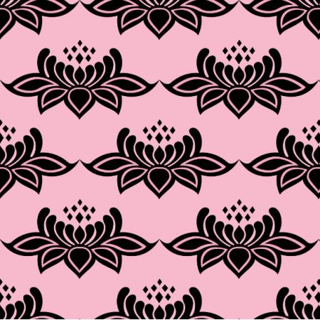 24897 | ORNAMENTALNY WZÓR RÓŻOWE KWIATY NA różowym TLECzarne