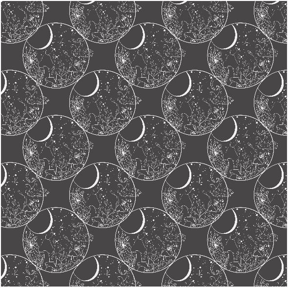 Fabric 24899 | Kosmiczne grzyby - czerń