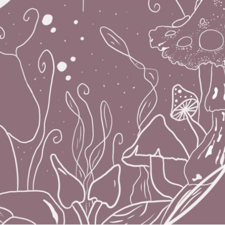 Fabric 24900 | kosmiczne grzyby  - róż