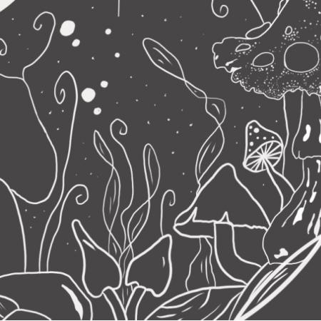 Fabric 24901 | kosmieczne grzyby - szary