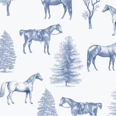 Fabric 24998 | KONIE I DRZEWKA NIEBIESKie na białym