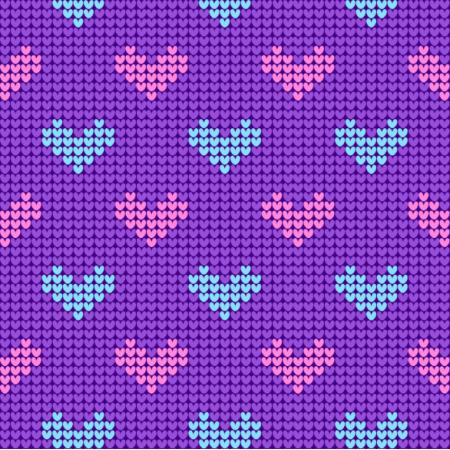 Fabric 25130 | Sweterkowy wzór z serduszkami