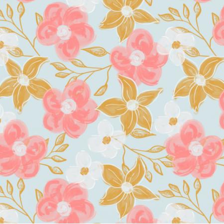 Fabric 25133   Akrylowe kwiaty na niebieskim tle