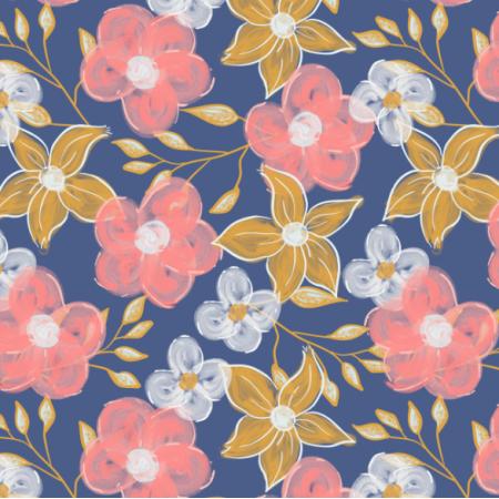 Fabric 25134 | Akrylowe kwiaty na Granatowym tle
