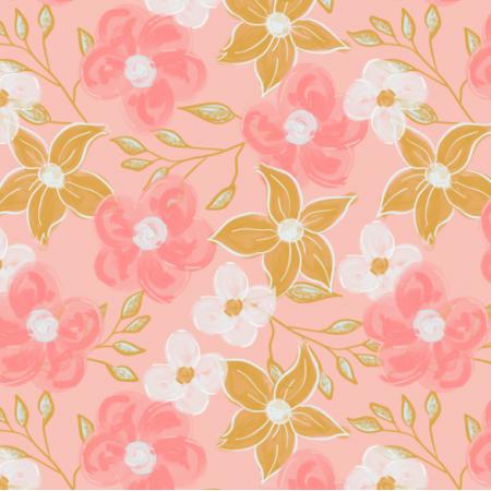 Fabric 25137 | Akrylowe kwiaty na Różowym tle