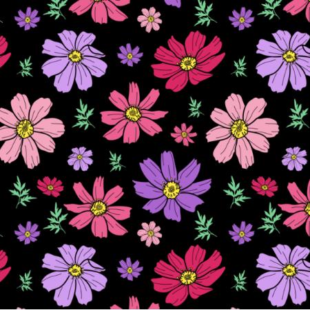25224 | Różowe i filetowe Kwiaty kosmos z liśćmi na czarnym tle. kwiatowy wzór bezszwowy