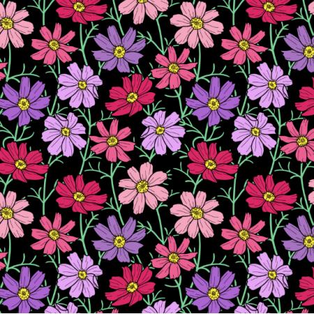 25232 | Różowe i filetowe Kwiaty kosmos na czarnym tle. kwiatowy wzór bezszwowy