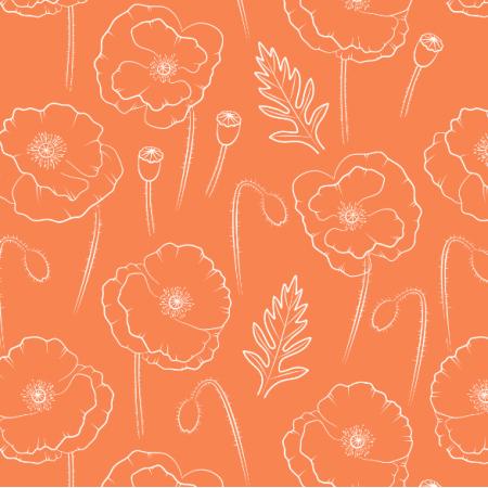 25233 | Obrysy maków na pomarańczowym tle. Kwiatowy wzór bezszwowy
