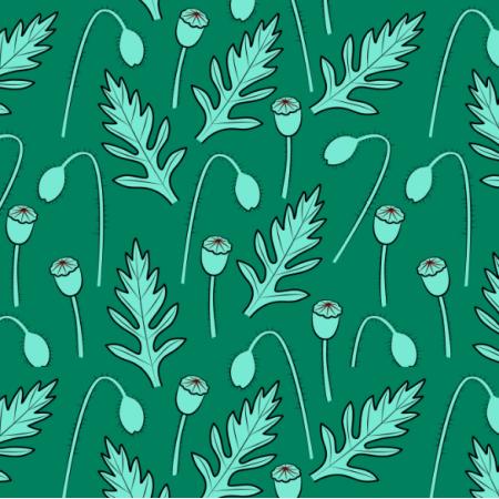 25234 | Liście i makówki. Roślinny wzór bezszwowy
