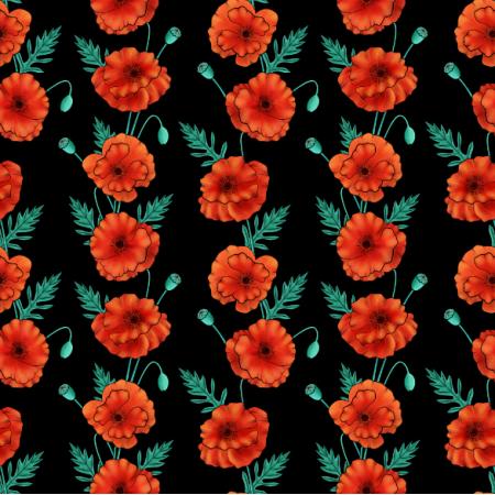 Fabric 25239 | pasy Maków na czarnym tle. Kwiatowy wzór bezszwowy
