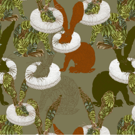 Fabric 25430 | Monstera's Hare green