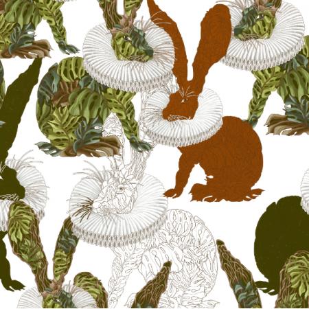 Fabric 25431 | Monstera's Hare white
