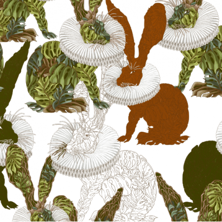 Fabric 25431 | Monstera's Hare white
