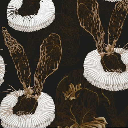 Fabric 25436 | Monstera's Hare 2 black