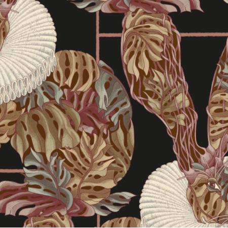 Fabric 25451 | Monstera's Hare 3 black