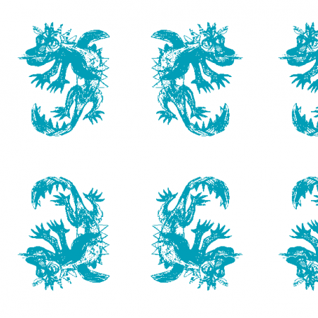 Fabric 25541   Dragon white turquoise pattern 1