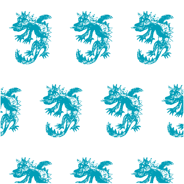 Fabric 25542 | Dragon white turquoise pattern 2