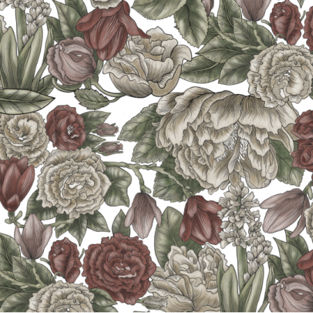 Fabric 25594 | English flowers on white