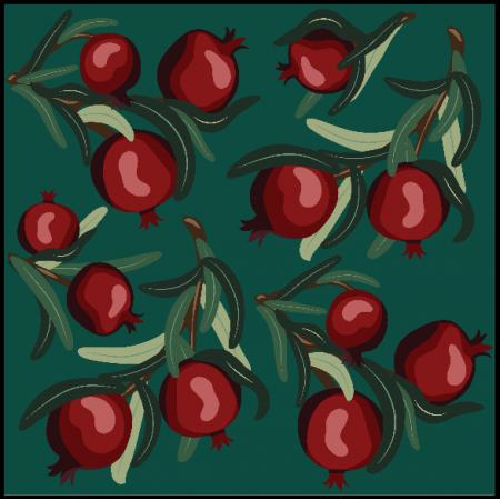25623 | Czerwone Granaty na Zielonym Tle