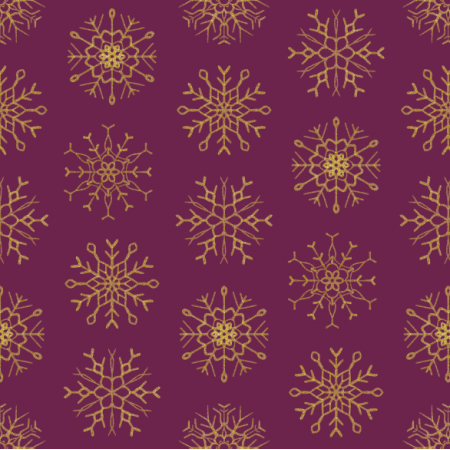 25646 | Złote Brokatowe płatki śniegu na burgundowym tle
