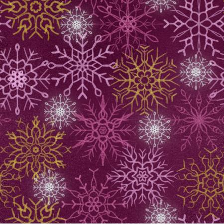 Fabric 25647 | Brokatowe płatki śniegu na burgundowym tle