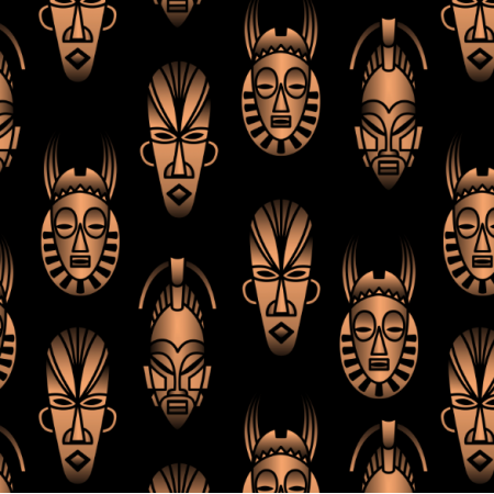 Fabric 25711 | African masks black