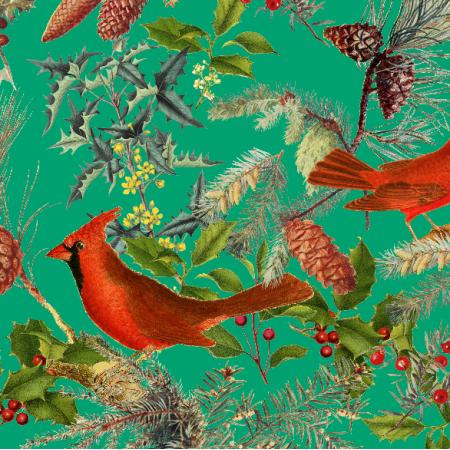25714   CHRISTMAS BIRDS - Green