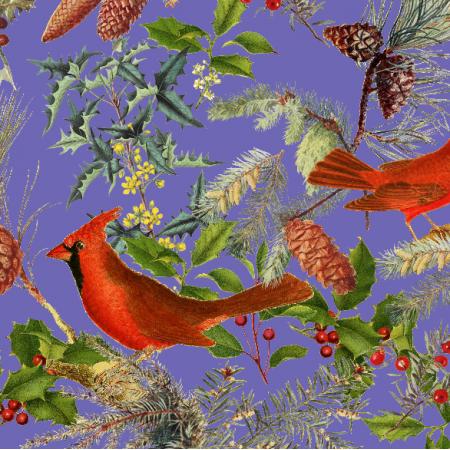 Fabric 25716 | CHRISTMAS BIRDS - Purple