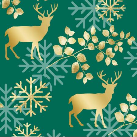 Fabric 25724 | ZŁOTE JELENIE NA ZIELONYM TLE