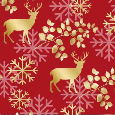25807 | ZŁOTE JELENIE NA CZERWONYM TLE - CHRISTMAS RED PATTERN