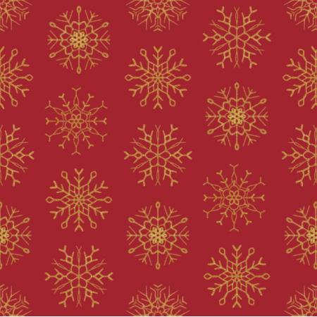 Fabric 25808 | złote Brokatowe płatki śniegu na czerwonym tle