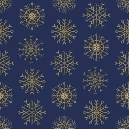 Fabric 25809 | złote Brokatowe płatki śniegu na granatowym tle